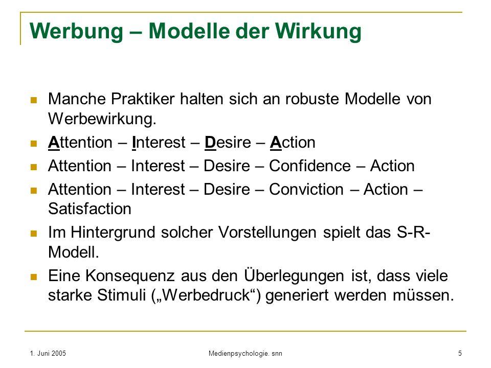 1. Juni 2005 Medienpsychologie. snn 5 Werbung – Modelle der Wirkung Manche Praktiker halten sich an robuste Modelle von Werbewirkung. Attention – Inte