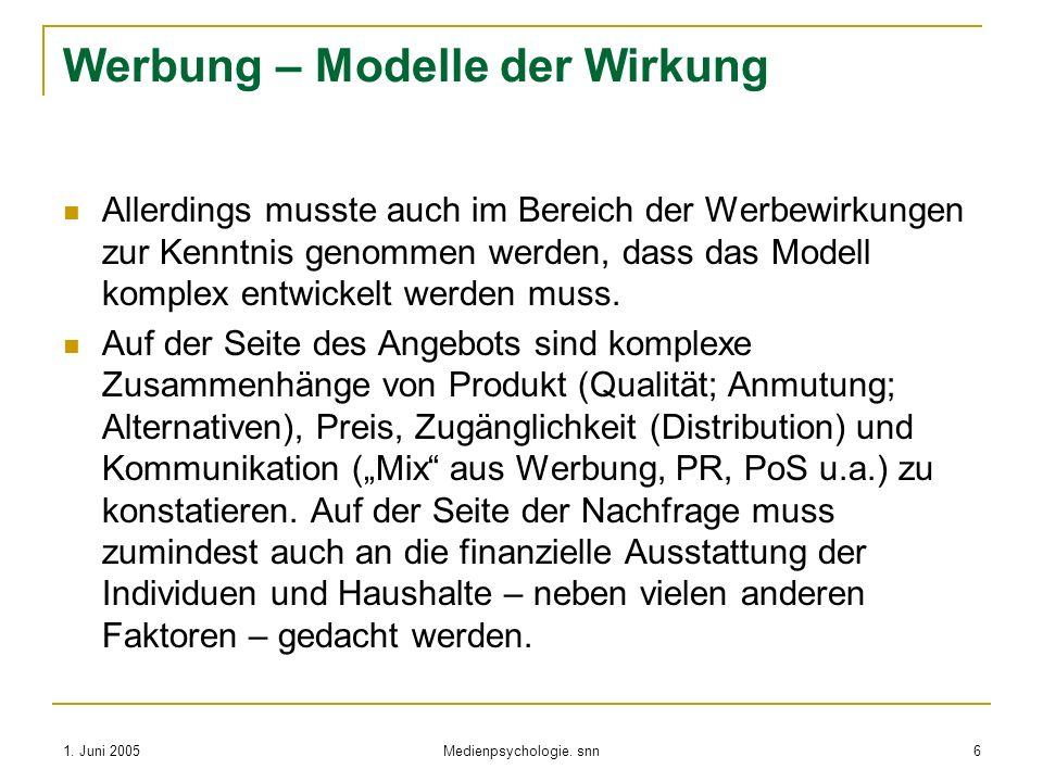 1. Juni 2005 Medienpsychologie. snn 6 Werbung – Modelle der Wirkung Allerdings musste auch im Bereich der Werbewirkungen zur Kenntnis genommen werden,