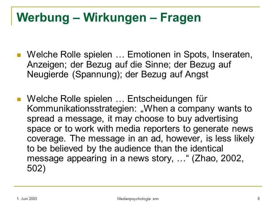 1. Juni 2005 Medienpsychologie. snn 8 Werbung – Wirkungen – Fragen Welche Rolle spielen … Emotionen in Spots, Inseraten, Anzeigen; der Bezug auf die S