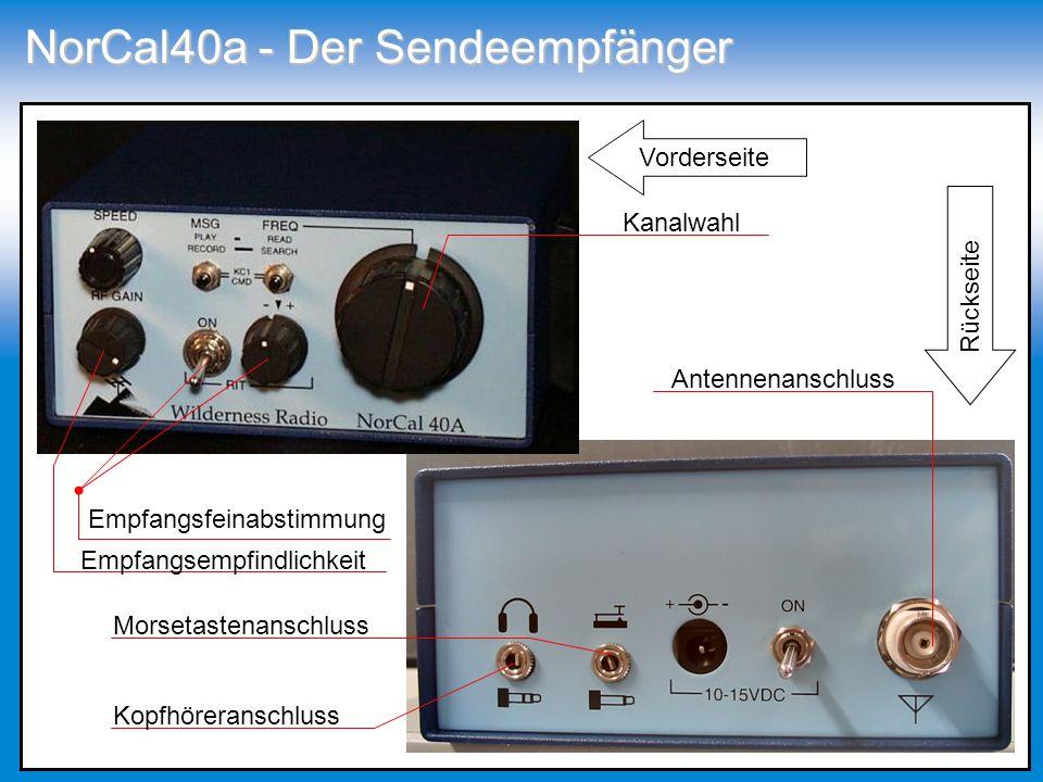 NorCal40a - Der Sendeempfänger Antennenanschluss Kanalwahl Morsetastenanschluss Kopfhöreranschluss Empfangsempfindlichkeit Empfangsfeinabstimmung Vord