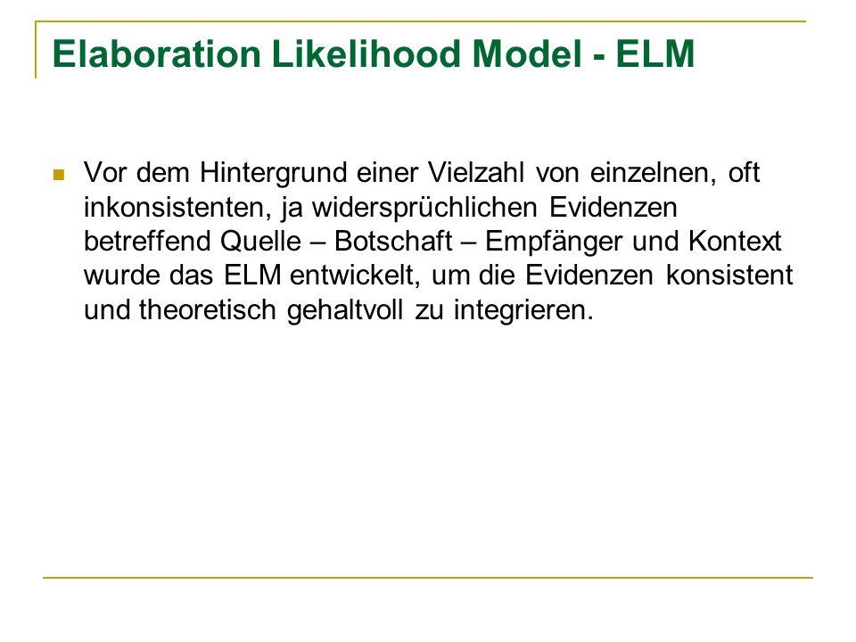 Elaboration Likelihood Model – ELM Das ELM ist ein prozessorientiertes Modell, das nicht die einzelnen Variablen sondern das Gesamt der möglichen Wirkungsprozesse zwischen Quelle – Botschaft – Empfänger im Kontext beobachtet.