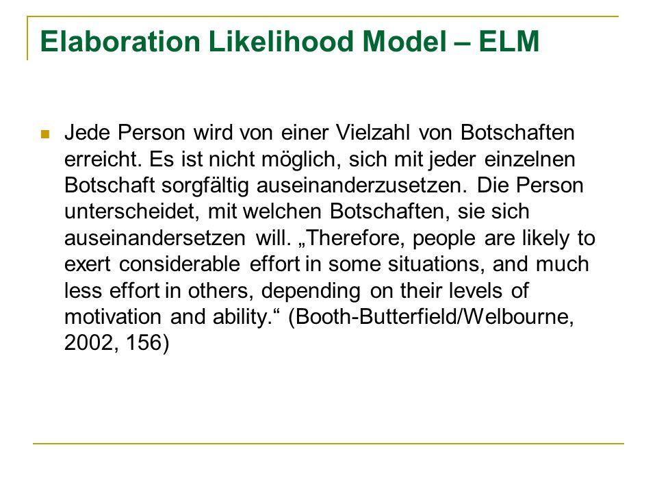Elaboration Likelihood Model – ELM Jede Person wird von einer Vielzahl von Botschaften erreicht. Es ist nicht möglich, sich mit jeder einzelnen Botsch