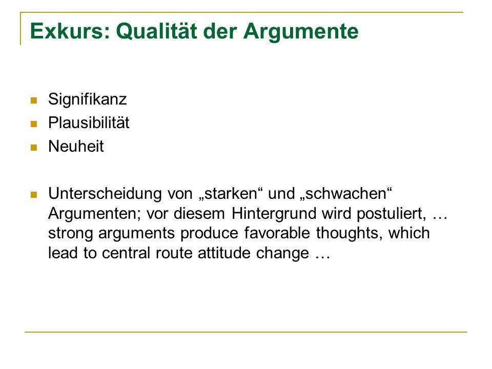 Exkurs: Qualität der Argumente Signifikanz Plausibilität Neuheit Unterscheidung von starken und schwachen Argumenten; vor diesem Hintergrund wird post