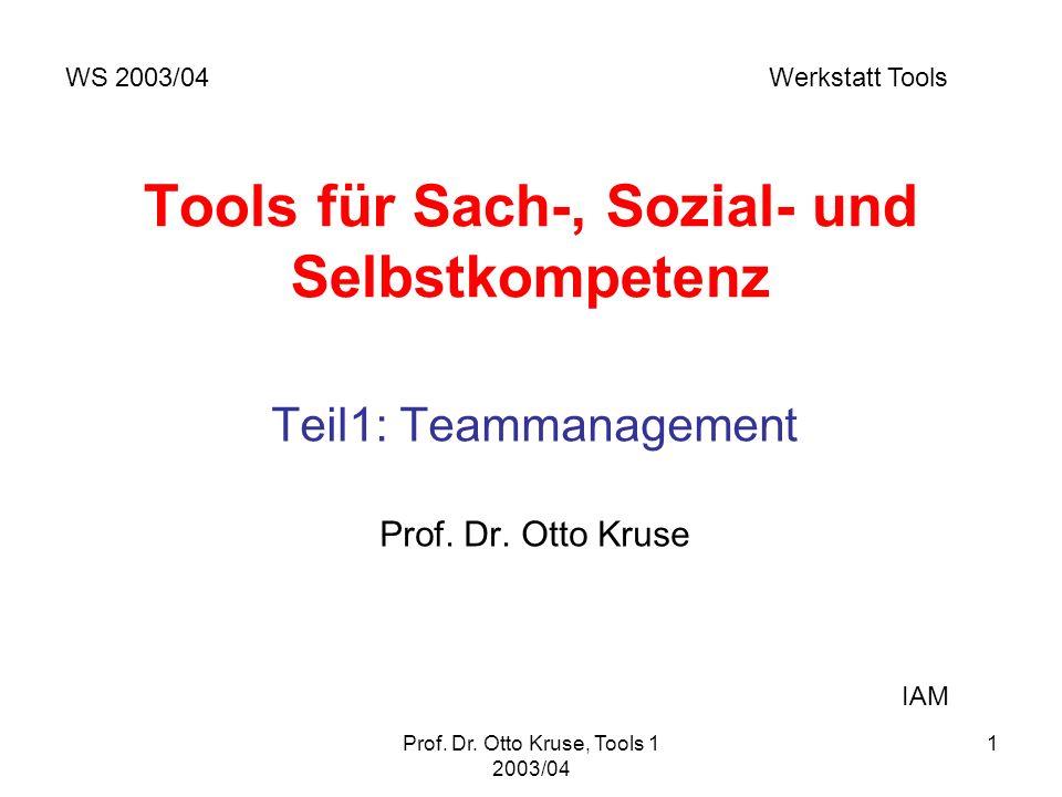 Prof. Dr. Otto Kruse, Tools 1 2003/04 1 Tools für Sach-, Sozial- und Selbstkompetenz Teil1: Teammanagement Prof. Dr. Otto Kruse WS 2003/04 Werkstatt T
