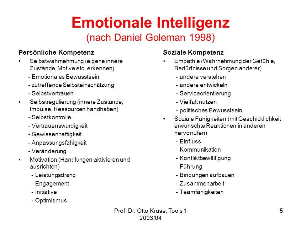 Prof. Dr. Otto Kruse, Tools 1 2003/04 5 Emotionale Intelligenz (nach Daniel Goleman 1998) Persönliche Kompetenz Selbstwahrnehmung (eigene innere Zustä