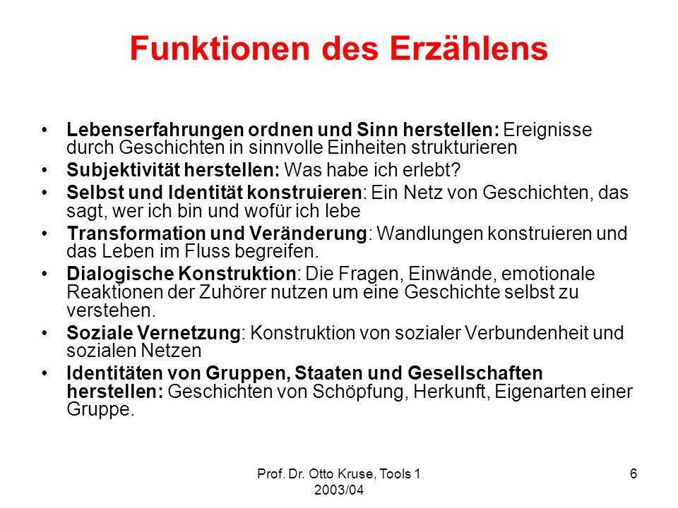 Prof. Dr. Otto Kruse, Tools 1 2003/04 6 Funktionen des Erzählens Lebenserfahrungen ordnen und Sinn herstellen: Ereignisse durch Geschichten in sinnvol