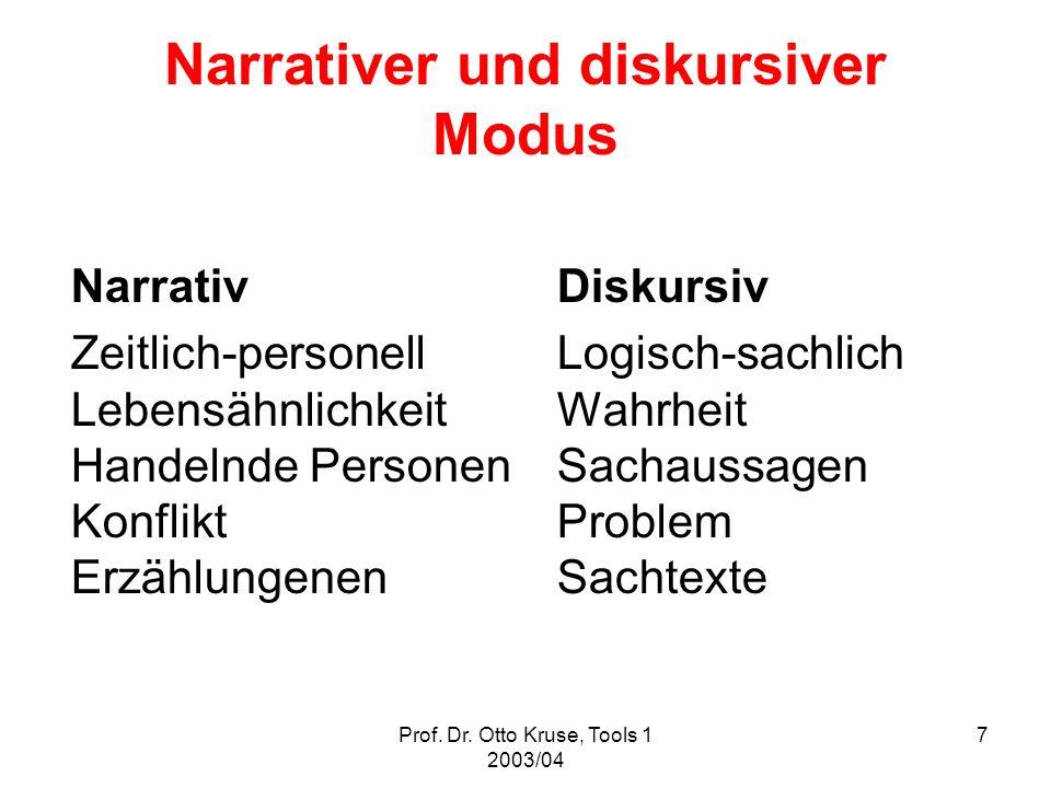 Prof. Dr. Otto Kruse, Tools 1 2003/04 7 Narrativer und diskursiver Modus Narrativ Diskursiv Zeitlich-personell Logisch-sachlich LebensähnlichkeitWahrh