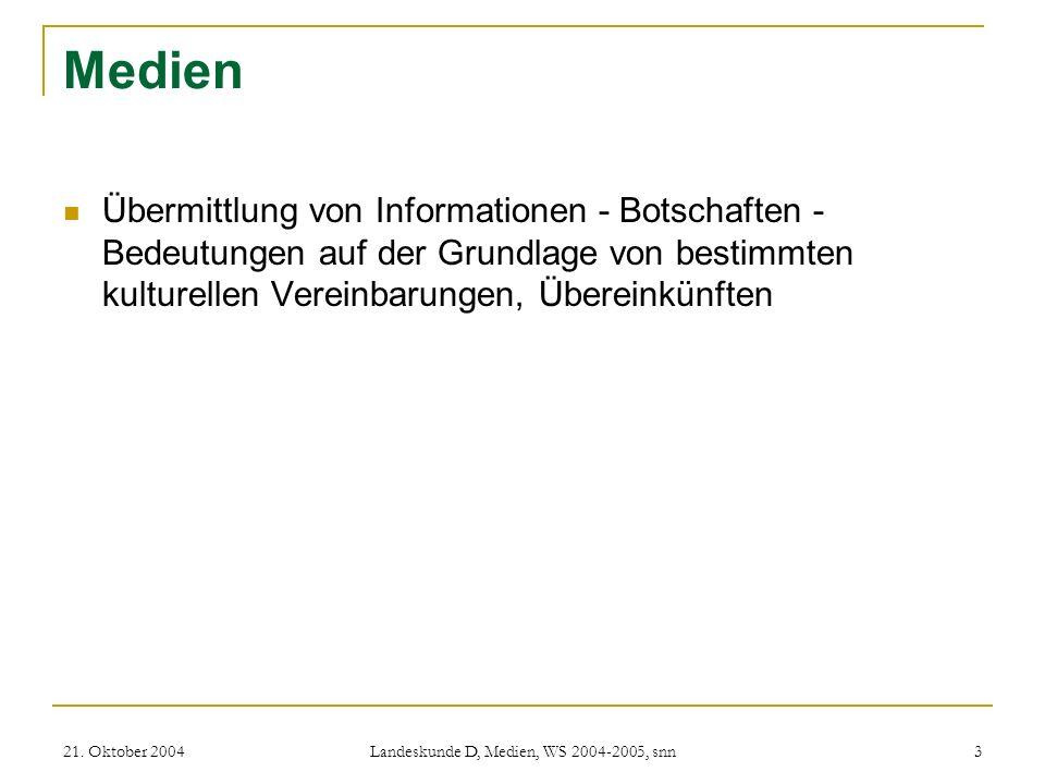 21. Oktober 2004 Landeskunde D, Medien, WS 2004-2005, snn 3 Medien Übermittlung von Informationen - Botschaften - Bedeutungen auf der Grundlage von be