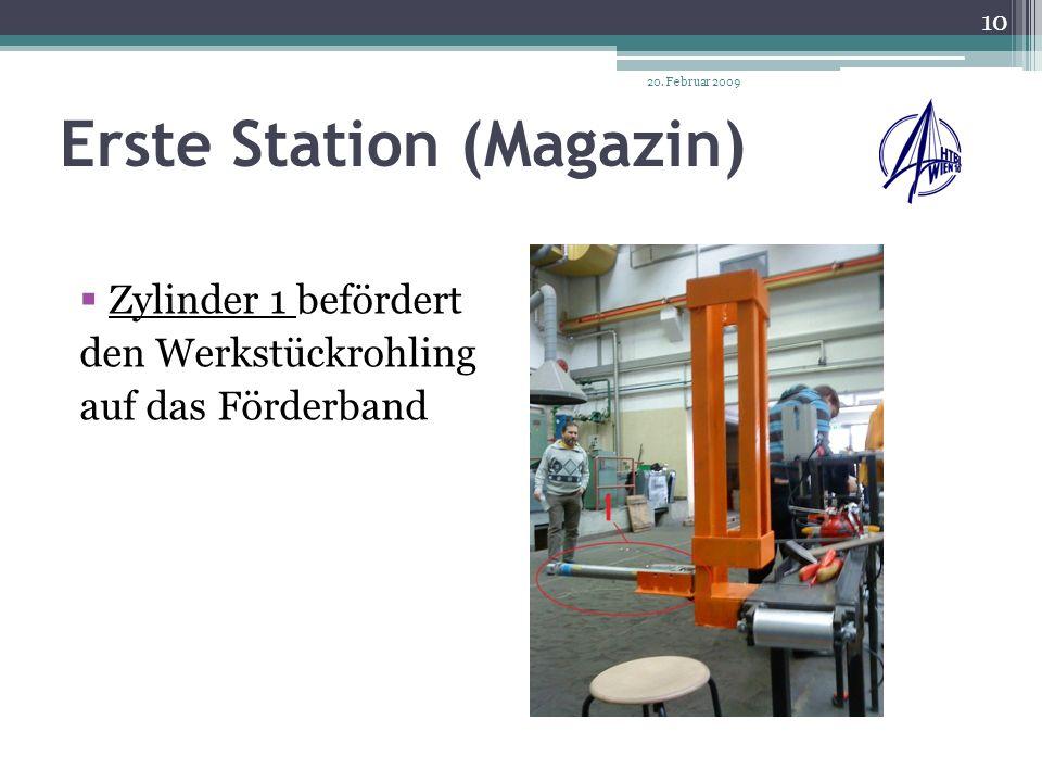 Zweite Station (Spannen und Bohren) Werkstück wird mithilfe des Zylinders 2 eingespannt Werkstück wird mithilfe des Zylinders 3 gebohrt Werkstück mit Förderband zu Station 3 weitergeführt 20.