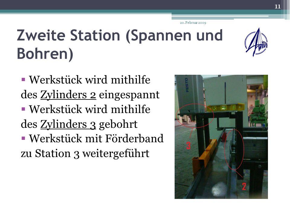 Dritte Station (Auswurf) Werkstück kommt mit Förderband zu Zylinder 4 Wird mithilfe des Zylinder und eines Vakuumsaug- napfes zur Endlage befördert 20.