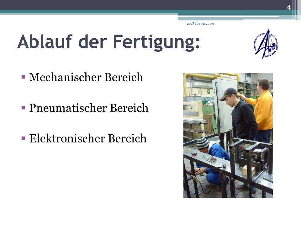 Mechanischer Bereich: Aufgabe : Drehen, Fräsen, Bohren, Schweißen 20. Februar 2009 5