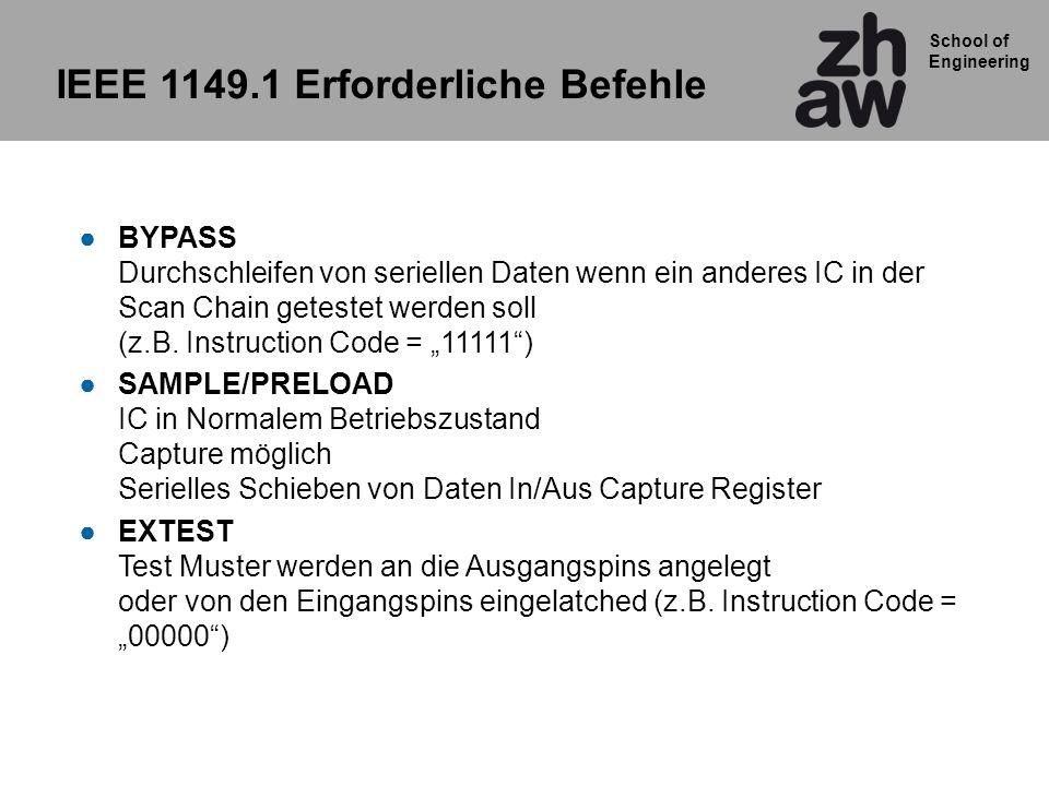 School of Engineering IEEE 1149.1 Erforderliche Befehle BYPASS Durchschleifen von seriellen Daten wenn ein anderes IC in der Scan Chain getestet werde