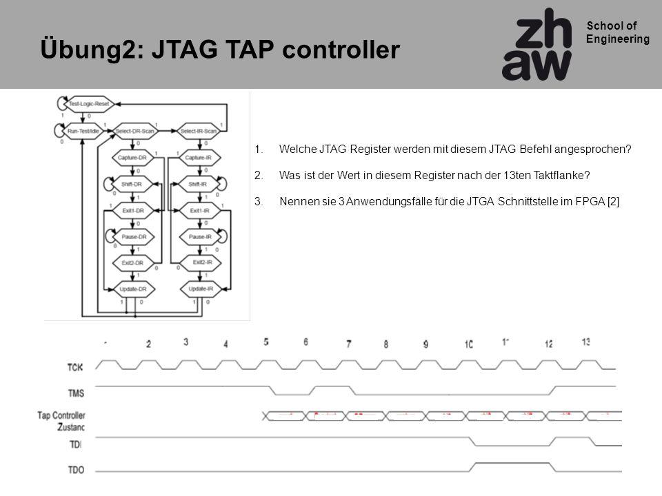 School of Engineering Übung2: JTAG TAP controller 1.Welche JTAG Register werden mit diesem JTAG Befehl angesprochen? 2.Was ist der Wert in diesem Regi