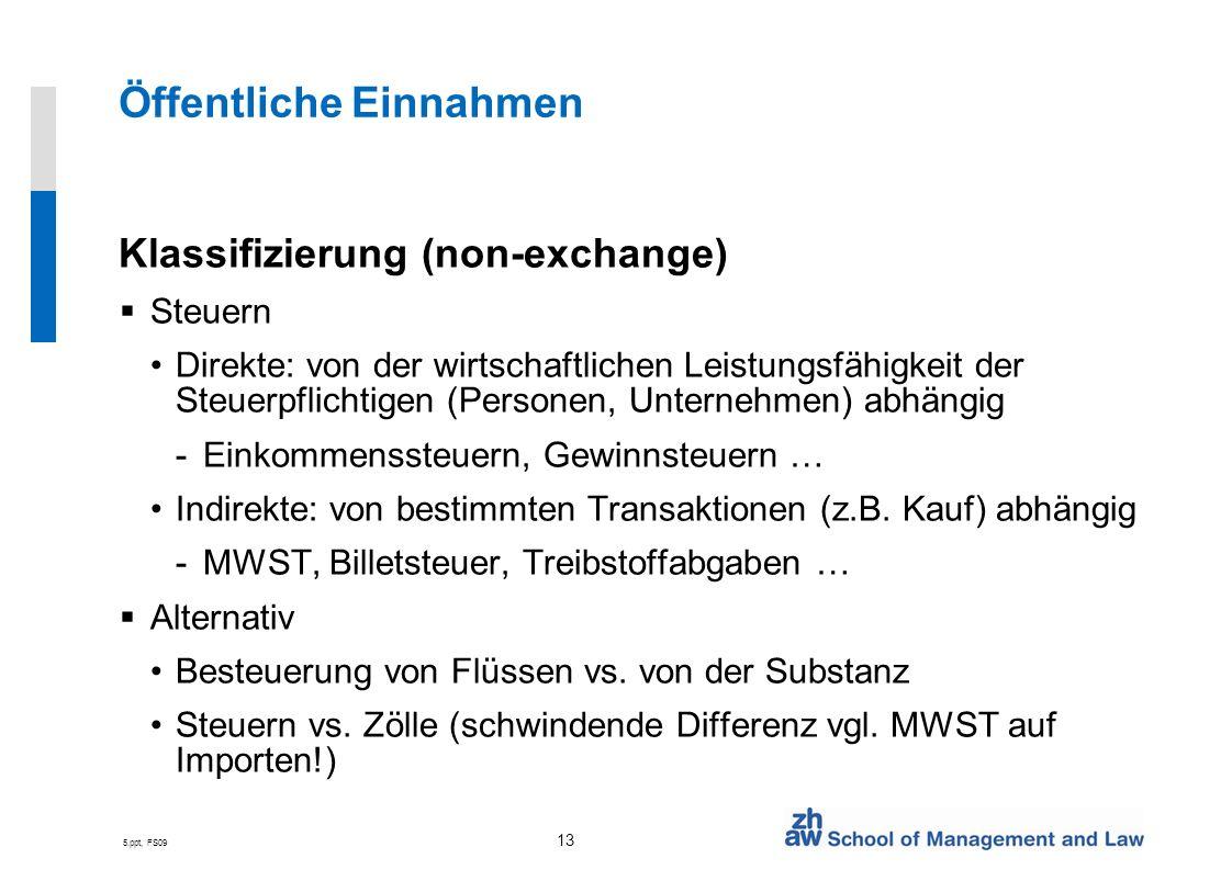 5.ppt, FS09 13 Öffentliche Einnahmen Klassifizierung (non-exchange) Steuern Direkte: von der wirtschaftlichen Leistungsfähigkeit der Steuerpflichtigen