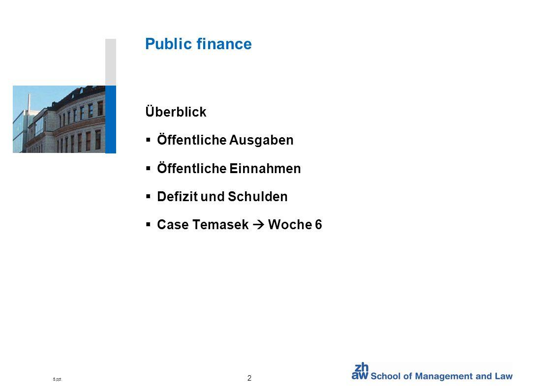 5.ppt 2 Public finance Überblick Öffentliche Ausgaben Öffentliche Einnahmen Defizit und Schulden Case Temasek Woche 6