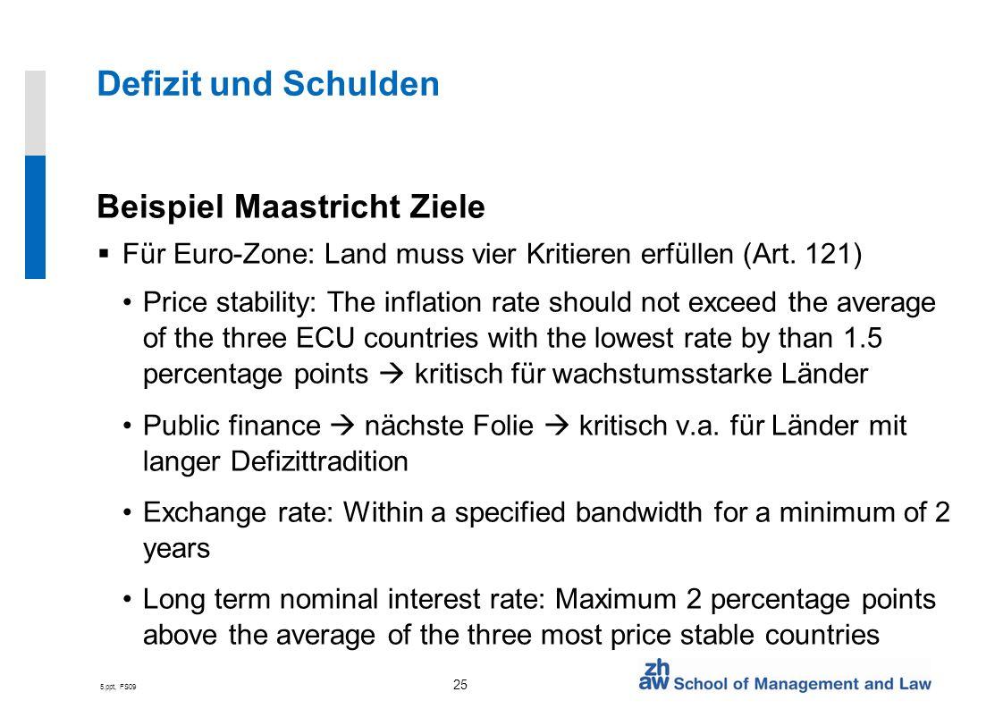 5.ppt, FS09 25 Defizit und Schulden Beispiel Maastricht Ziele Für Euro-Zone: Land muss vier Kritieren erfüllen (Art. 121) Price stability: The inflati