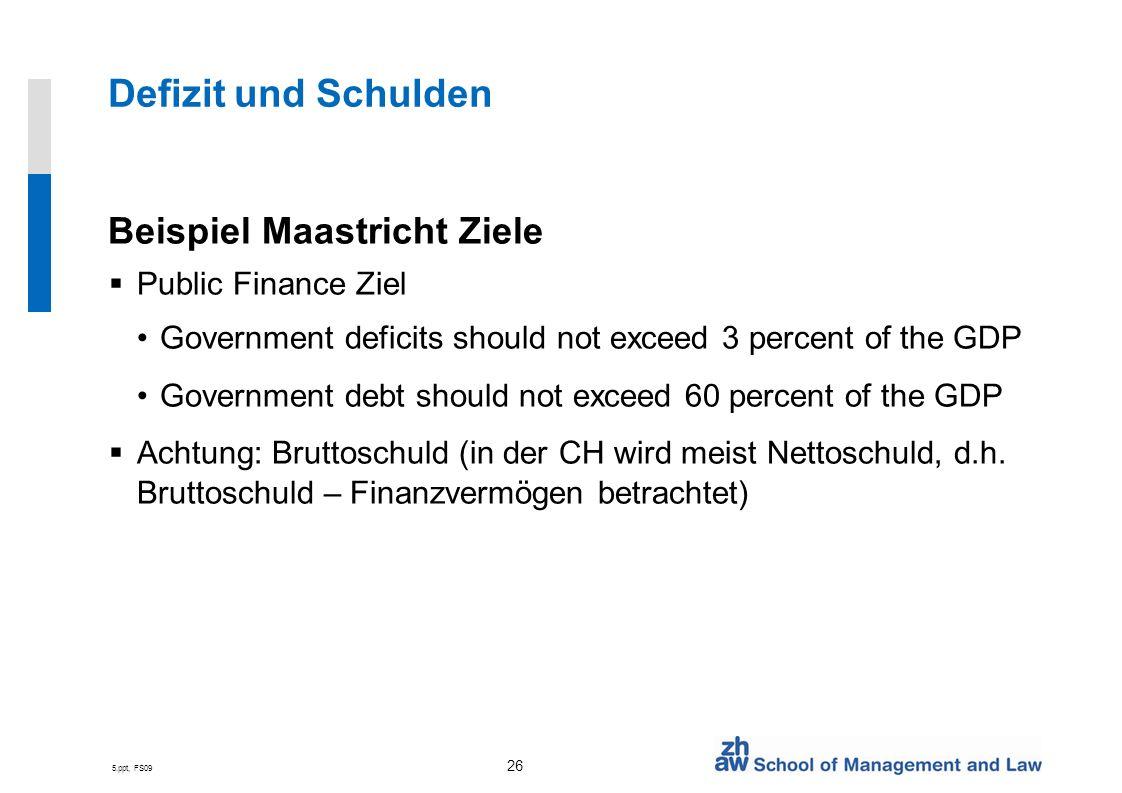 5.ppt, FS09 26 Defizit und Schulden Beispiel Maastricht Ziele Public Finance Ziel Government deficits should not exceed 3 percent of the GDP Governmen