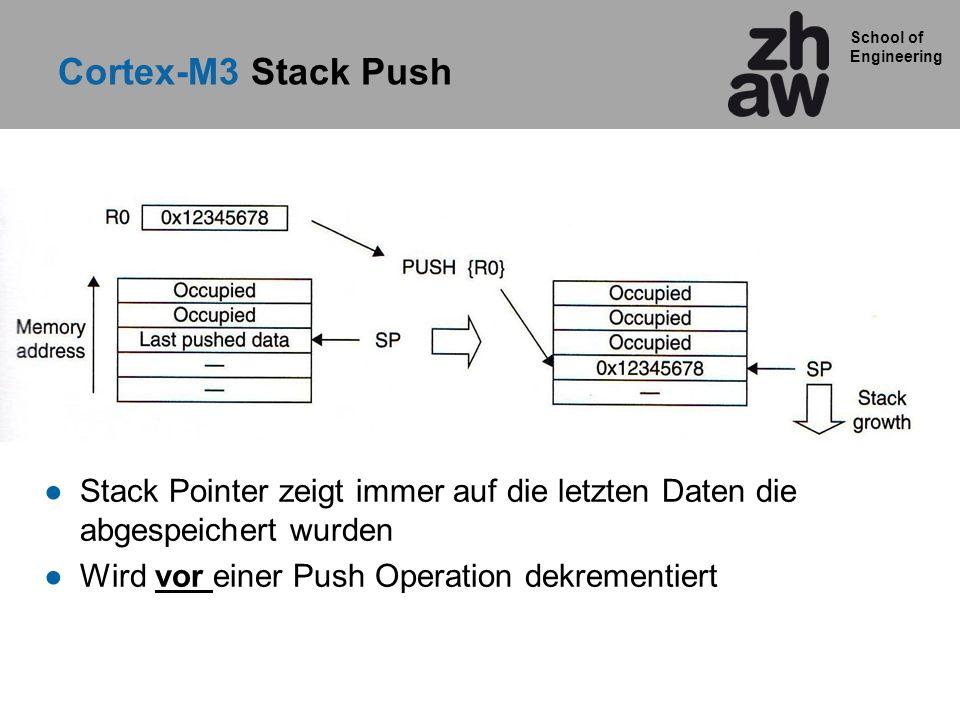 School of Engineering Cortex-M3 Stack Push Stack Pointer zeigt immer auf die letzten Daten die abgespeichert wurden Wird vor einer Push Operation dekrementiert