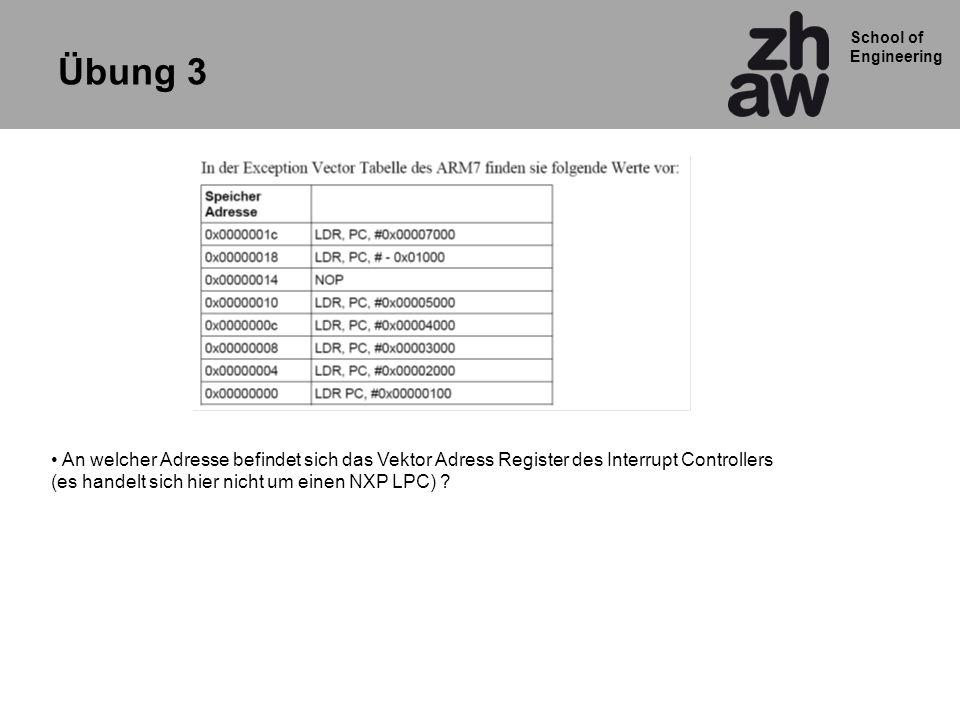 School of Engineering Übung 3 An welcher Adresse befindet sich das Vektor Adress Register des Interrupt Controllers (es handelt sich hier nicht um ein