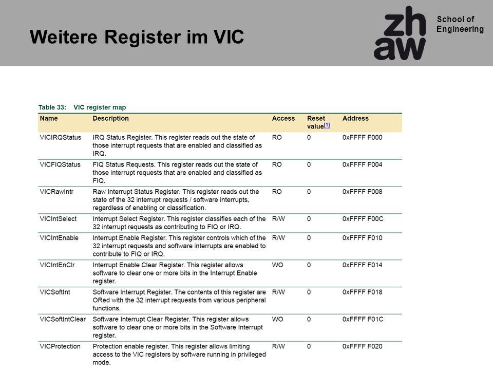 School of Engineering Weitere Register im VIC