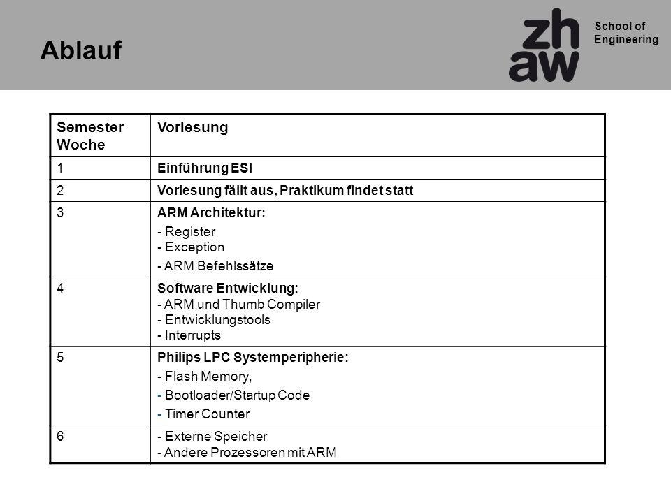 School of Engineering Semester Woche Vorlesung 1Einführung ESI 2Vorlesung fällt aus, Praktikum findet statt 3ARM Architektur: - Register - Exception -