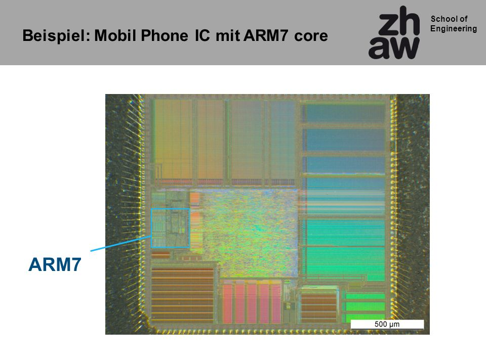 School of Engineering ARM7 Beispiel: Mobil Phone IC mit ARM7 core