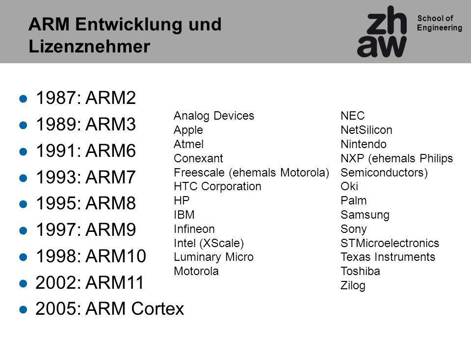 School of Engineering ARM Entwicklung und Lizenznehmer 1987: ARM2 1989: ARM3 1991: ARM6 1993: ARM7 1995: ARM8 1997: ARM9 1998: ARM10 2002: ARM11 2005: ARM Cortex Analog Devices Apple Atmel Conexant Freescale (ehemals Motorola) HTC Corporation HP IBM Infineon Intel (XScale) Luminary Micro Motorola NEC NetSilicon Nintendo NXP (ehemals Philips Semiconductors) Oki Palm Samsung Sony STMicroelectronics Texas Instruments Toshiba Zilog