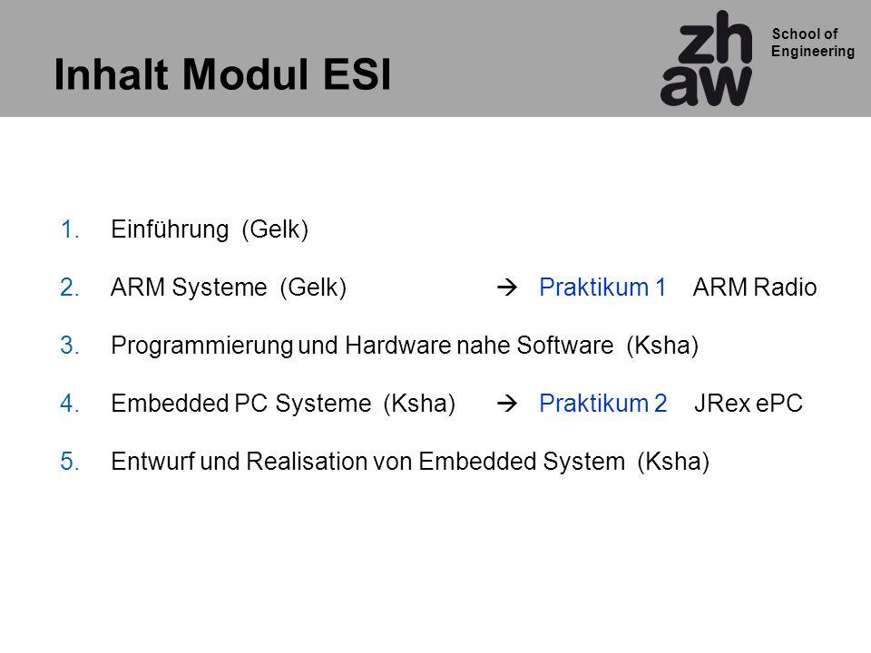 School of Engineering Inhalt Modul ESI 1.Einführung (Gelk) 2.ARM Systeme (Gelk) Praktikum 1 ARM Radio 3.Programmierung und Hardware nahe Software (Ksh