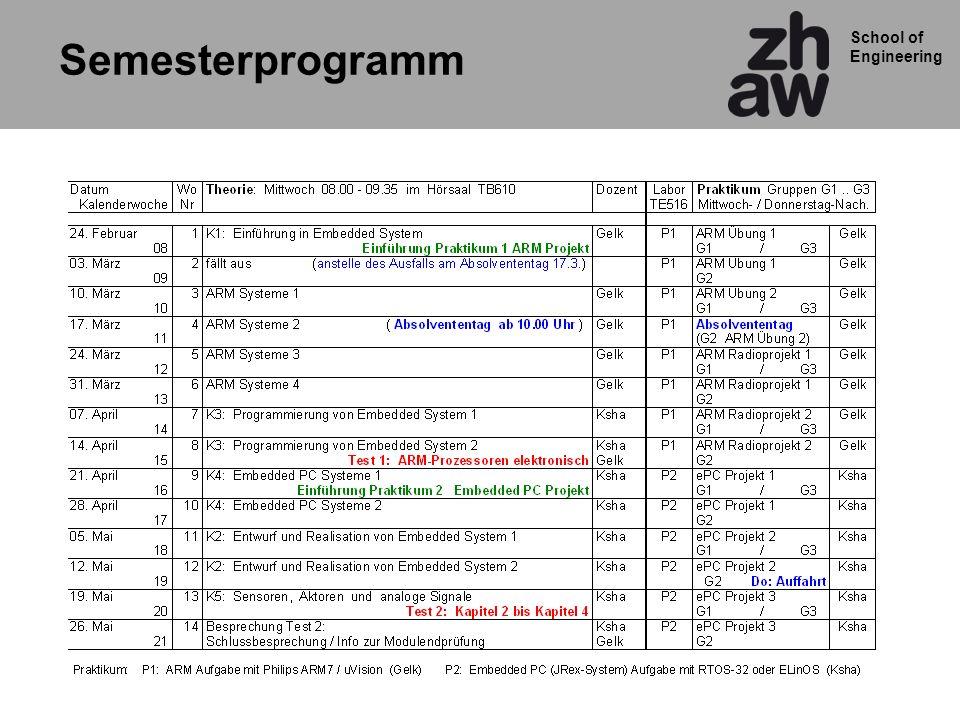 School of Engineering Target Hardware für Praktikum Radio TEA5764 LCD display ARM LPC2138 SCL SDA INTx Drehgeber ENB ENA Tastatur P1.16, P1,17, P1.18 P1.19, P1,23 P0.12 P0.13 P0.1 SID P0.7 SOD P0.15 CS EINT0 EINT2 IOPIN0.13 P0.6 P0.5 MISO MOSI GPIO 0.15 JTAG MCB2130Radioplatine
