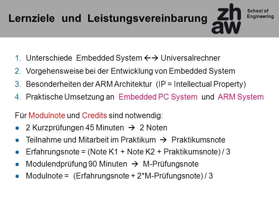 School of Engineering Lernziele und Leistungsvereinbarung 1.Unterschiede Embedded System Universalrechner 2.Vorgehensweise bei der Entwicklung von Emb