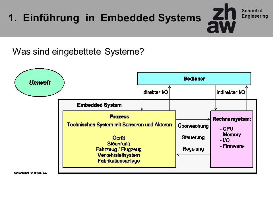 School of Engineering Merkmale und Eigenschaften von Embedded Systems Embedded System: Prozess (reale Welt) und Bediener im Zentrum Rechner (HW+SW) ist oft unsichtbar in das System (Gerät) integriert Spezialisierung: Mikrocontroller mit speziellem Programm (Firmware) Zuverlässigkeit und Robustheit Systemumfeld bestimmt die Anforderungen an das ES Echtzeitanforderungen (Realtime) Ausfallsicherheit Batteriebetrieb Oft kein Lademedium (Disk) Firmware in ROM / Flash Spezielle Entwicklungswerkzeuge notwendig Prozessorwahl ist von zentraler Bedeutung