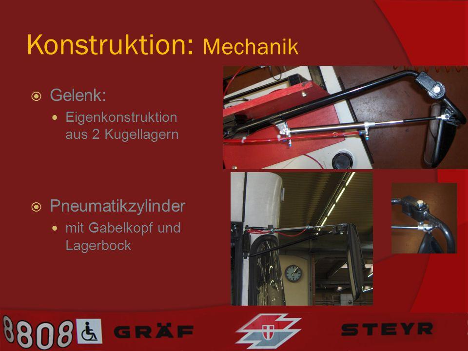 Konstruktion: Mechanik Gelenk: Eigenkonstruktion aus 2 Kugellagern Pneumatikzylinder mit Gabelkopf und Lagerbock