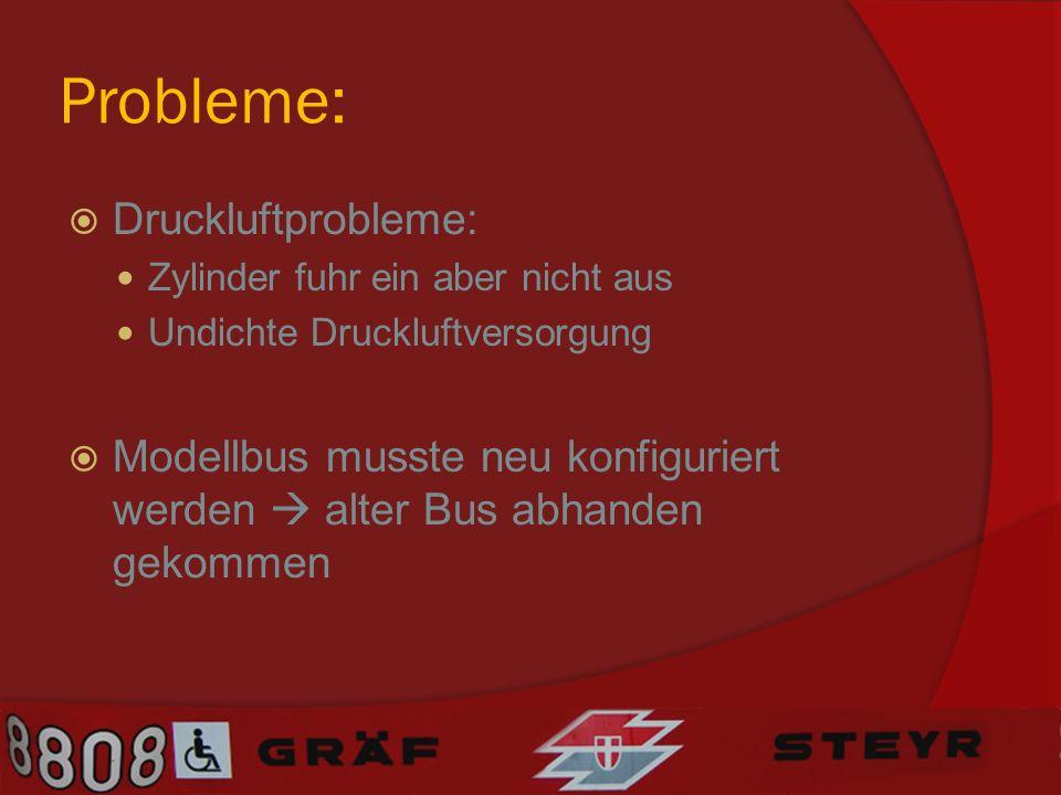 Probleme: Druckluftprobleme: Zylinder fuhr ein aber nicht aus Undichte Druckluftversorgung Modellbus musste neu konfiguriert werden alter Bus abhanden gekommen