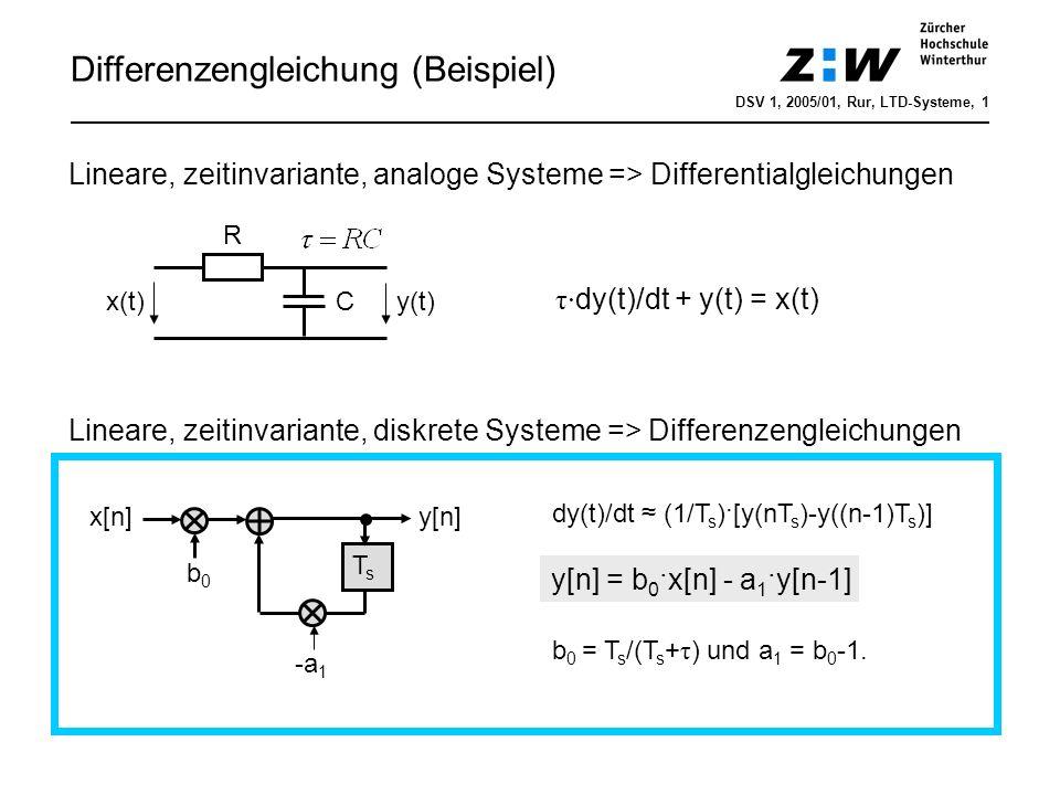Differenzengleichung Nicht-rekursive Systeme (FIR-/Transversalfilter) Rekursive Systeme (IIR-Filter) TsTs TsTs b0b0 b1b1 bNbN...