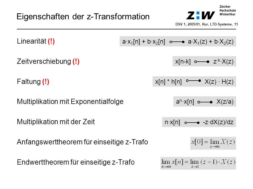 Frequenzgang eines LTD-Systems DSV 1, 2005/01, Rur, Filterentwurf, 12 H(z): Übertragungsfunktion (UTF) z-Transformierte der Impulsantwort h[n]