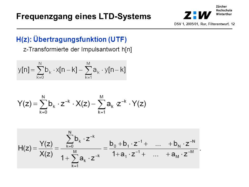 z-Transformation - Fouriertransformierte DSV 1, 2005/01, Rur, LTD-Systeme, 13 Fourier-/Laplace-Transformation: X(f) = X(s = j2πf) Laplace-/z-Transformation: X(s) = X(z = e sTs ) Fourier-/z-Transformation: X(f)=X(z = e j2πfTs ) Beispiel: Approximation RC-Tiefpass 1.