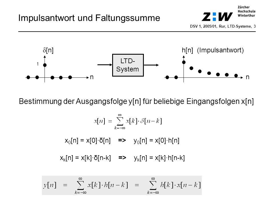 y[10] Faltung (Beispiel) Demo: dsv1kap4_digisys_faltungschritt.m DSV 1, 2005/01, Rur, LTD-Systeme, 4 Approximation RC-Tiefpass 1.