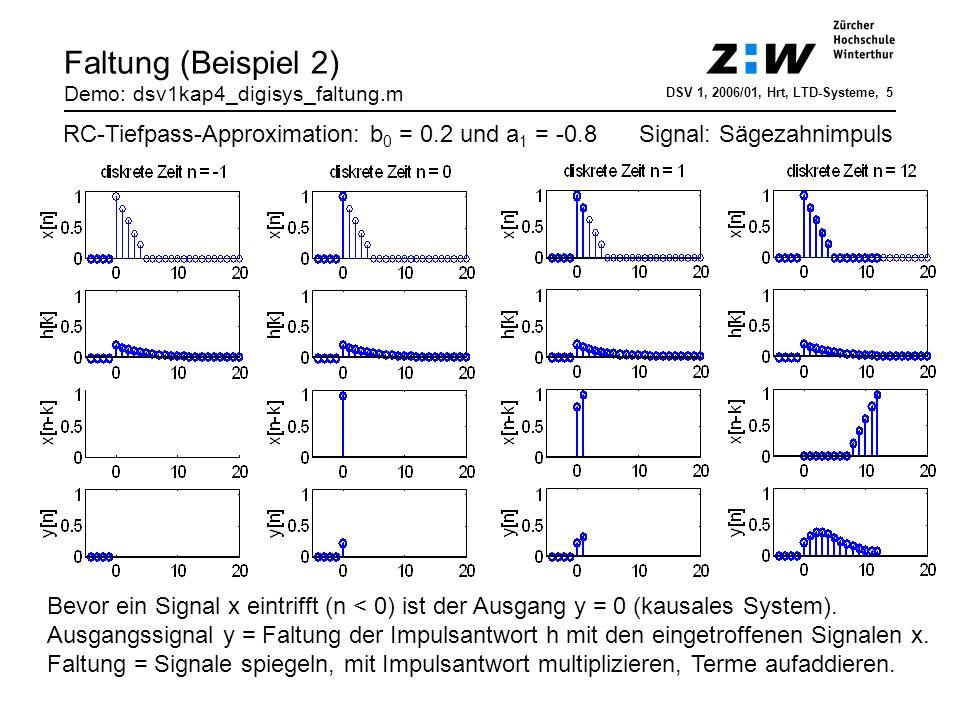 Frequenzgang eines LTD-Systems DSV 1, 2005/01, Rur, Filterentwurf, 6 H(f): Frequenzgang H(f) = H(z=e j2πfTs ) Fourier-Transformierte von h[n] Polarkoordinatendarstellung => H(z): Übertragungsfunktion (UTF) z-Transformierte der Impulsantwort h[n] IH(f)I: Amplitudengang meistens in dB, d.h.