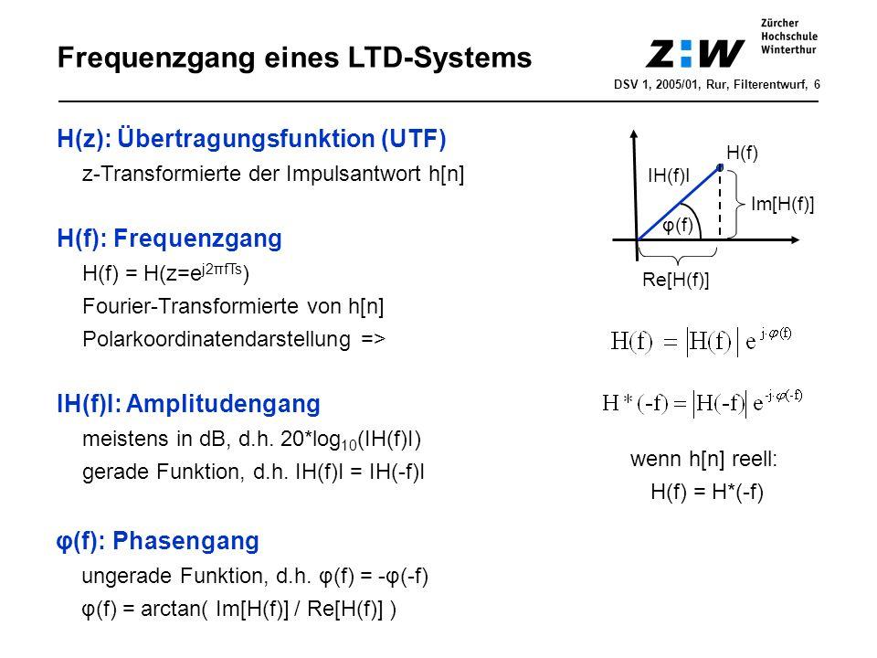 Frequenzgang eines LTD-Systems DSV 1, 2005/01, Rur, Filterentwurf, 7 IH(f 0 )I·cos[2πf 0 ·nT s +φ(f 0 )] = IH(f 0 )I·cos[2πf 0 ·(nT s -Δ 0 )] cos(2πf 0 ·nT s ) H(f) Bedeutung des Amplituden- und Phasengangs Linearer Phasengang H(f) verzögert alle Frequenzkomponenten um Δ=K/2π φ(f) = -K·f wobei Zeitverzögerung