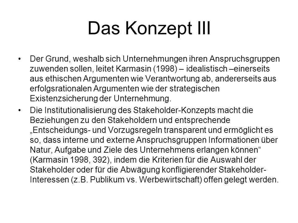 Das Konzept III Der Grund, weshalb sich Unternehmungen ihren Anspruchsgruppen zuwenden sollen, leitet Karmasin (1998) – idealistisch –einerseits aus e