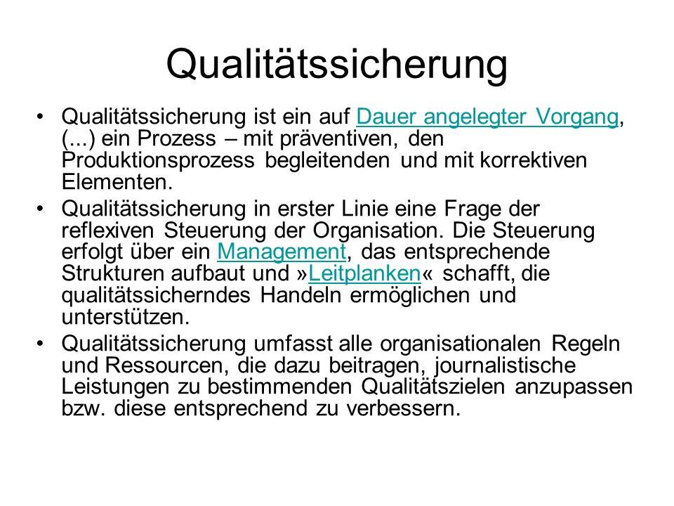 Qualitätssicherung Qualitätssicherung ist ein auf Dauer angelegter Vorgang, (...) ein Prozess – mit präventiven, den Produktionsprozess begleitenden u