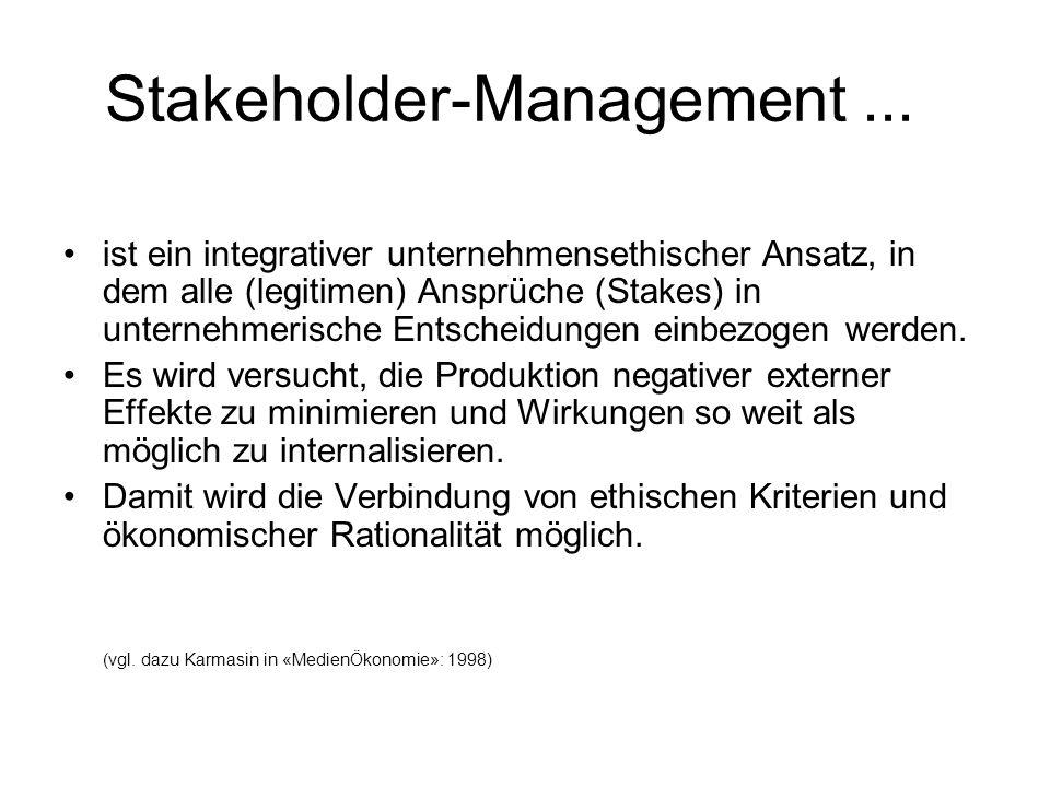 Stakeholder-Management... ist ein integrativer unternehmensethischer Ansatz, in dem alle (legitimen) Ansprüche (Stakes) in unternehmerische Entscheidu