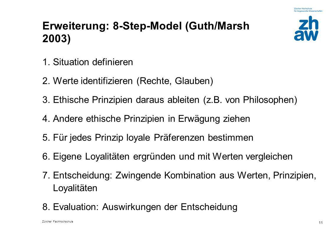 Zürcher Fachhochschule 11 Erweiterung: 8-Step-Model (Guth/Marsh 2003) 1.Situation definieren 2.Werte identifizieren (Rechte, Glauben) 3.Ethische Prinz