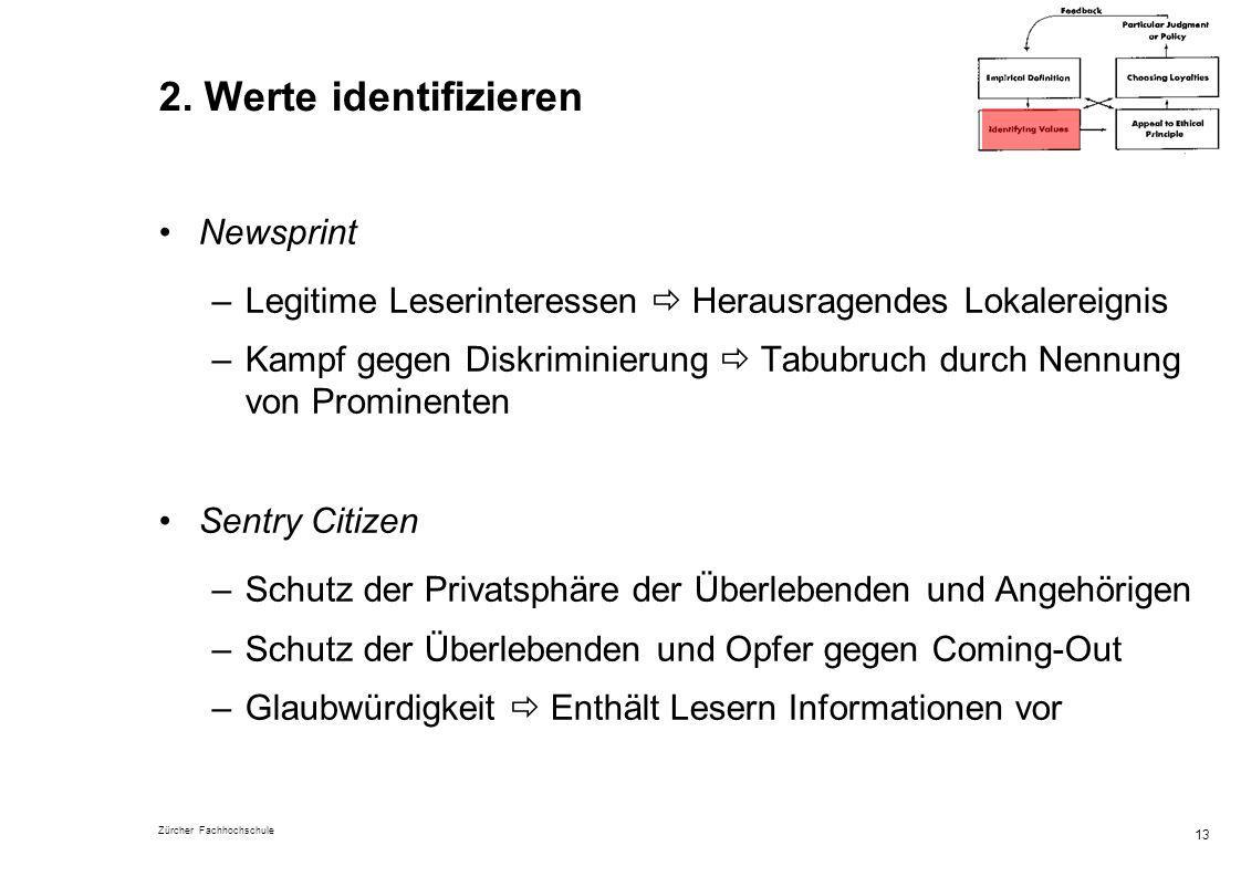 Zürcher Fachhochschule 13 2. Werte identifizieren Newsprint –Legitime Leserinteressen Herausragendes Lokalereignis –Kampf gegen Diskriminierung Tabubr