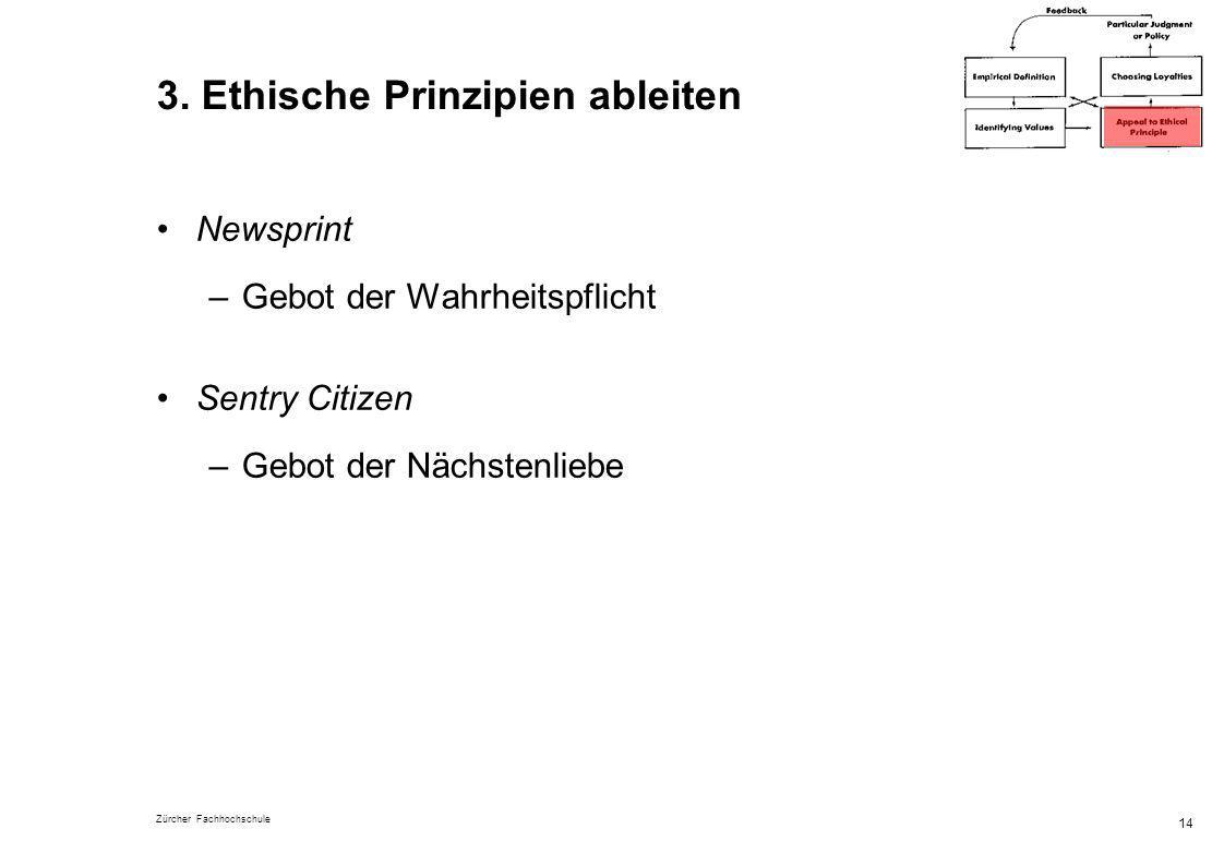 Zürcher Fachhochschule 14 3. Ethische Prinzipien ableiten Newsprint –Gebot der Wahrheitspflicht Sentry Citizen –Gebot der Nächstenliebe