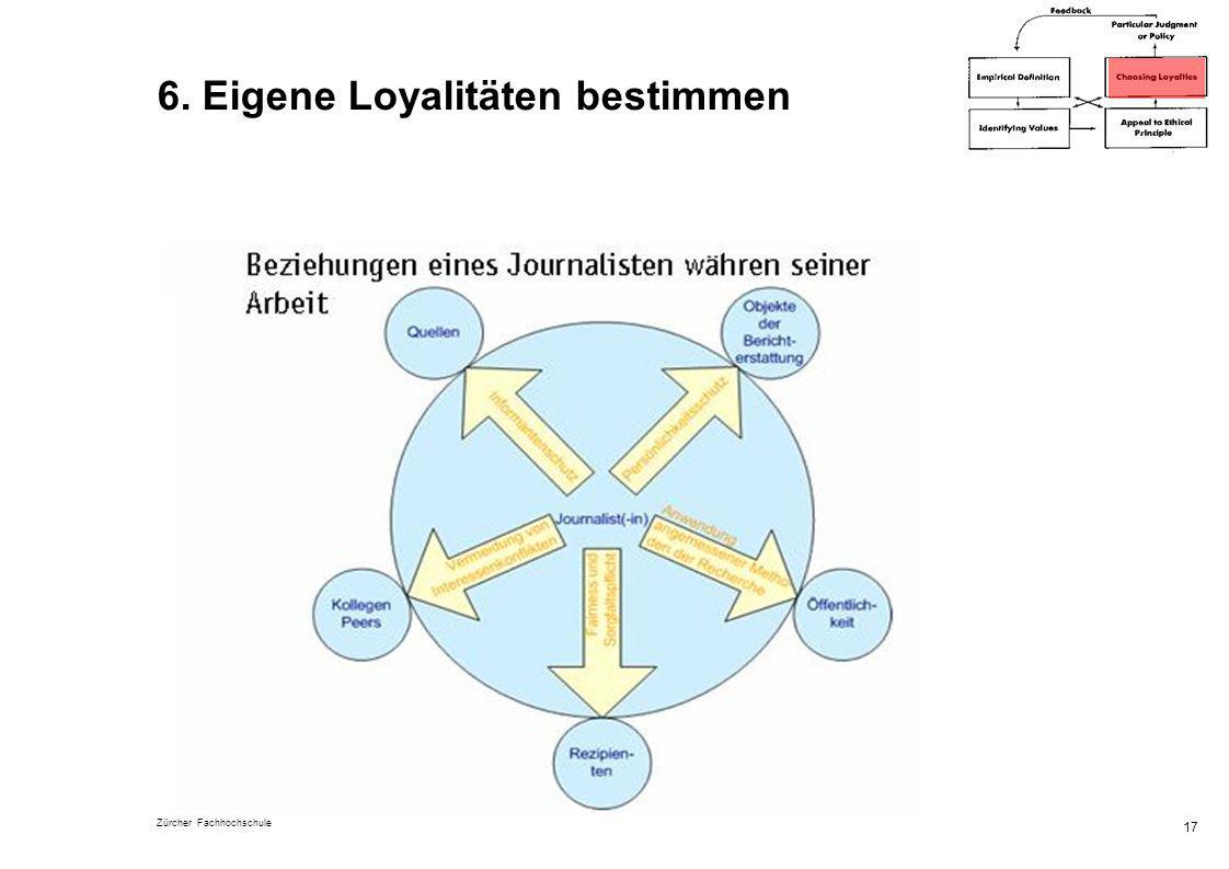Zürcher Fachhochschule 17 6. Eigene Loyalitäten bestimmen