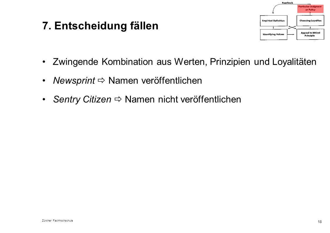 Zürcher Fachhochschule 18 7. Entscheidung fällen Zwingende Kombination aus Werten, Prinzipien und Loyalitäten Newsprint Namen veröffentlichen Sentry C
