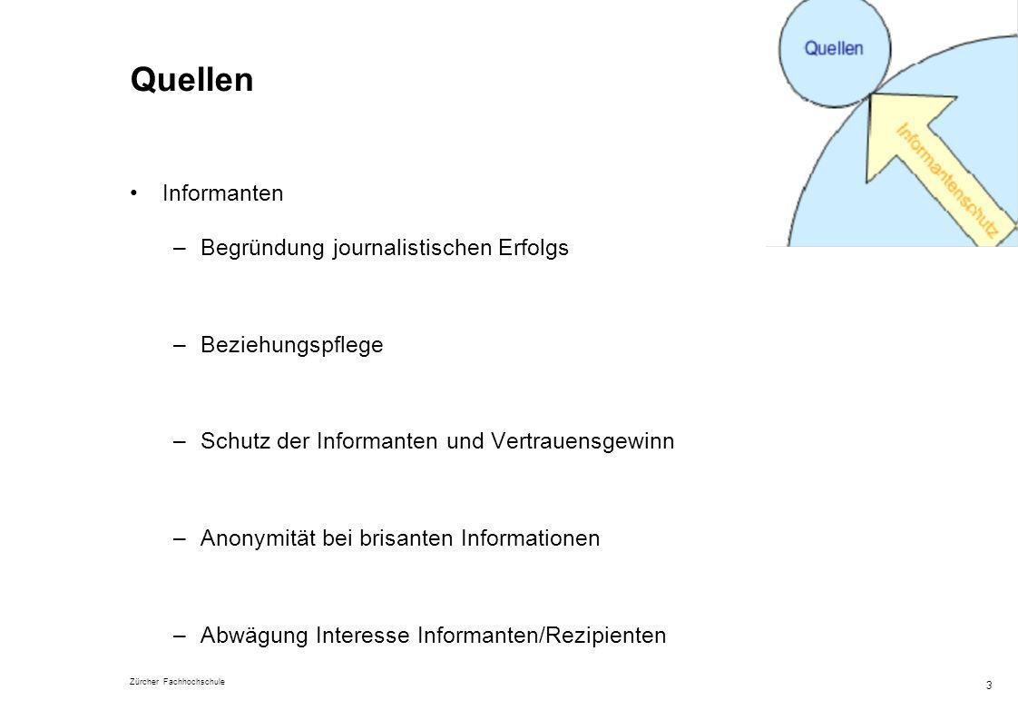 Zürcher Fachhochschule 3 Quellen Informanten –Begründung journalistischen Erfolgs –Beziehungspflege –Schutz der Informanten und Vertrauensgewinn –Anon
