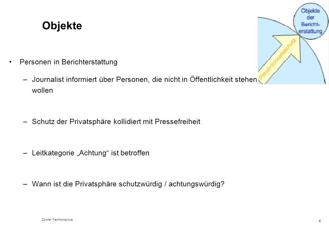 Zürcher Fachhochschule 4 Objekte Personen in Berichterstattung –Journalist informiert über Personen, die nicht in Öffentlichkeit stehen wollen –Schutz