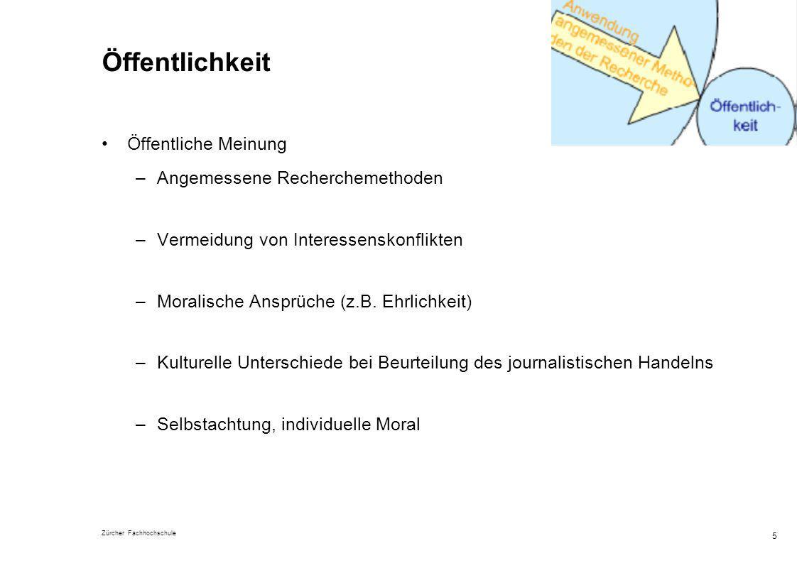 Zürcher Fachhochschule 5 Öffentlichkeit Öffentliche Meinung –Angemessene Recherchemethoden –Vermeidung von Interessenskonflikten –Moralische Ansprüche